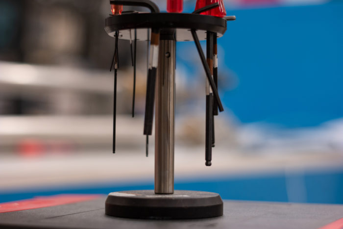 a table-top tool stand that rotates for easy access