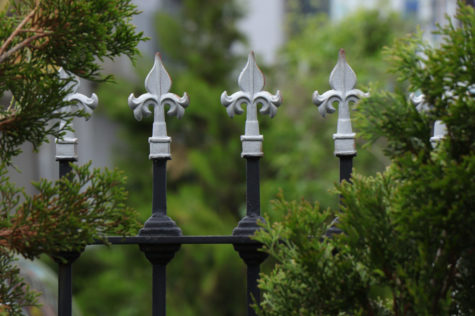 a black, iron fence with a silver Fleur-de-lis at the top of each bar