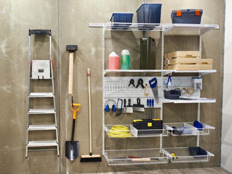 tools and DIY equipment on wire shelves that can be adjusted to different heights