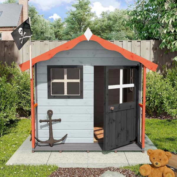simple garden playhouse ideas using bright paints and simple accessories to look like a pirate hideout