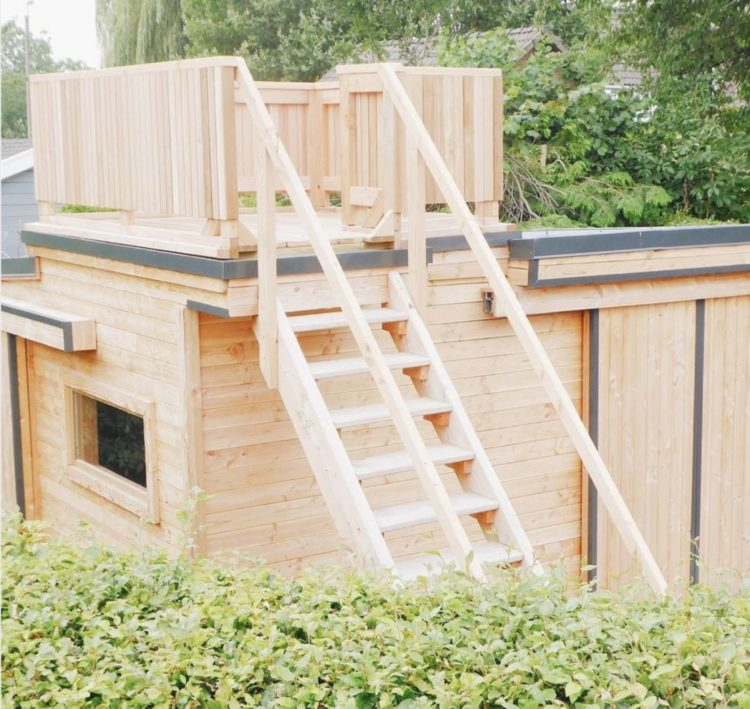 a wooden shed with a ladder up to a rooftop platform