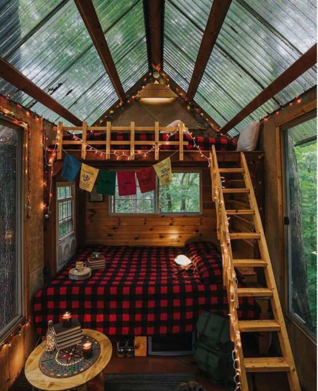 a rustic treehouse with a clear roof and cosy wooden bunkbeds inside