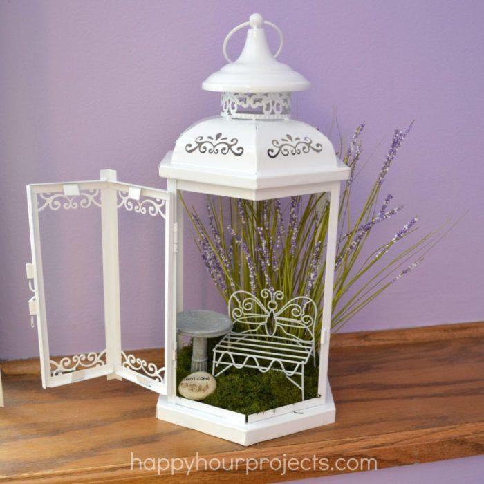 fairy garden ideas inside a lantern