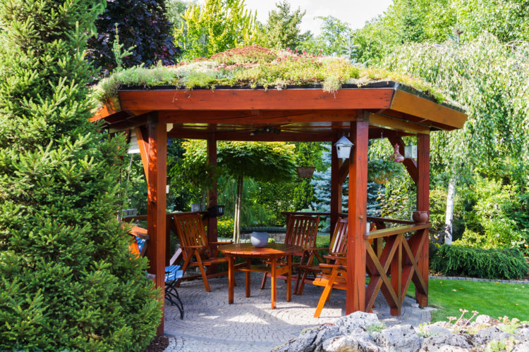 an open-sided gazebo with a living roof