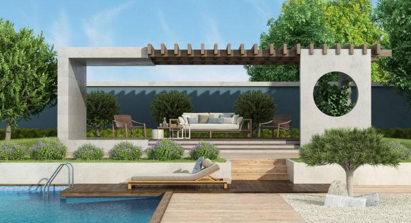 a contemporary garden shelter that looks like a modern art piece