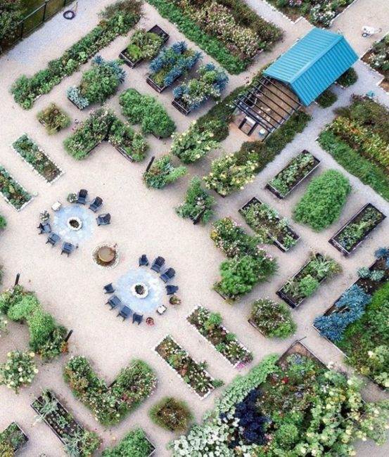 a birds-eye view of a large foodscape with plants in containers on gravel