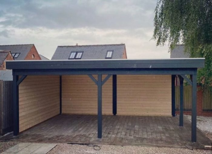 a garden shelter with two sides, which could be used to exercise beneath