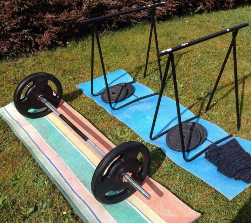 garden gym ideas include simple set ups like free weights on shock absorption mats on the lawn