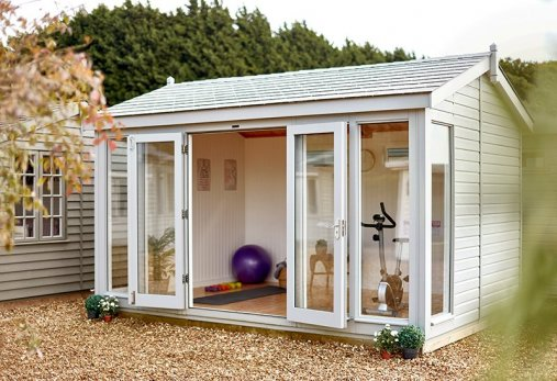 garden gym ideas, featuring an outdoor studio with French doors