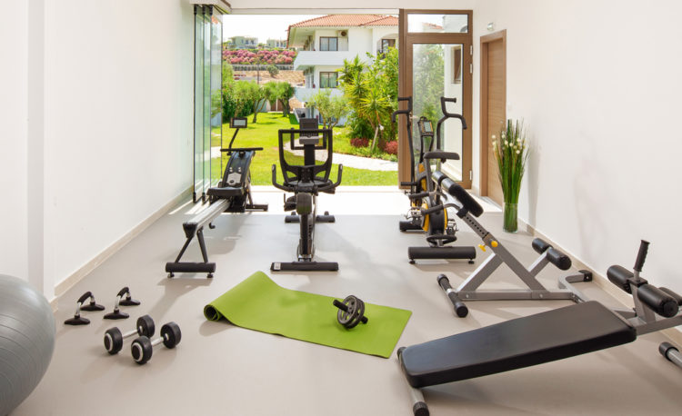 a garden gym with lots of fitness and exercise equipment