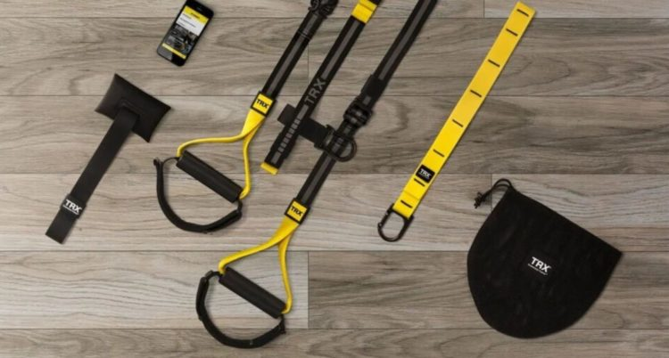 TRX fitness equipment is compact - perfect for a small garden gym