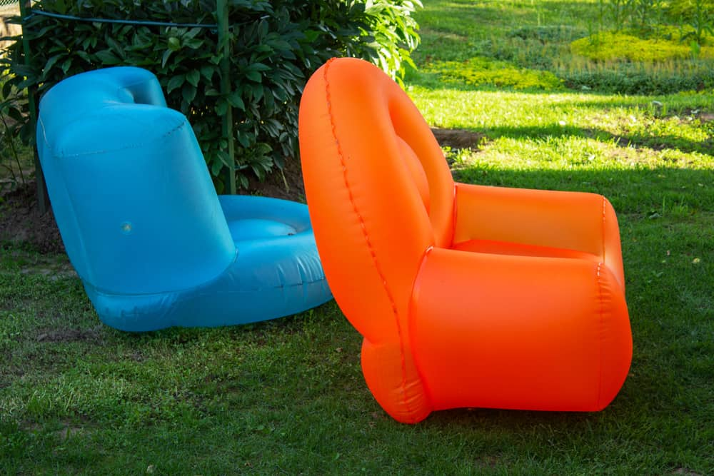 inflatable chairs on grass