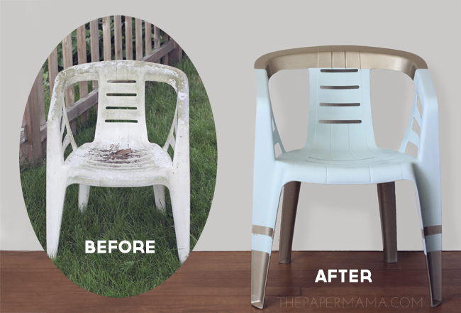 Renewd plastic chair before and after