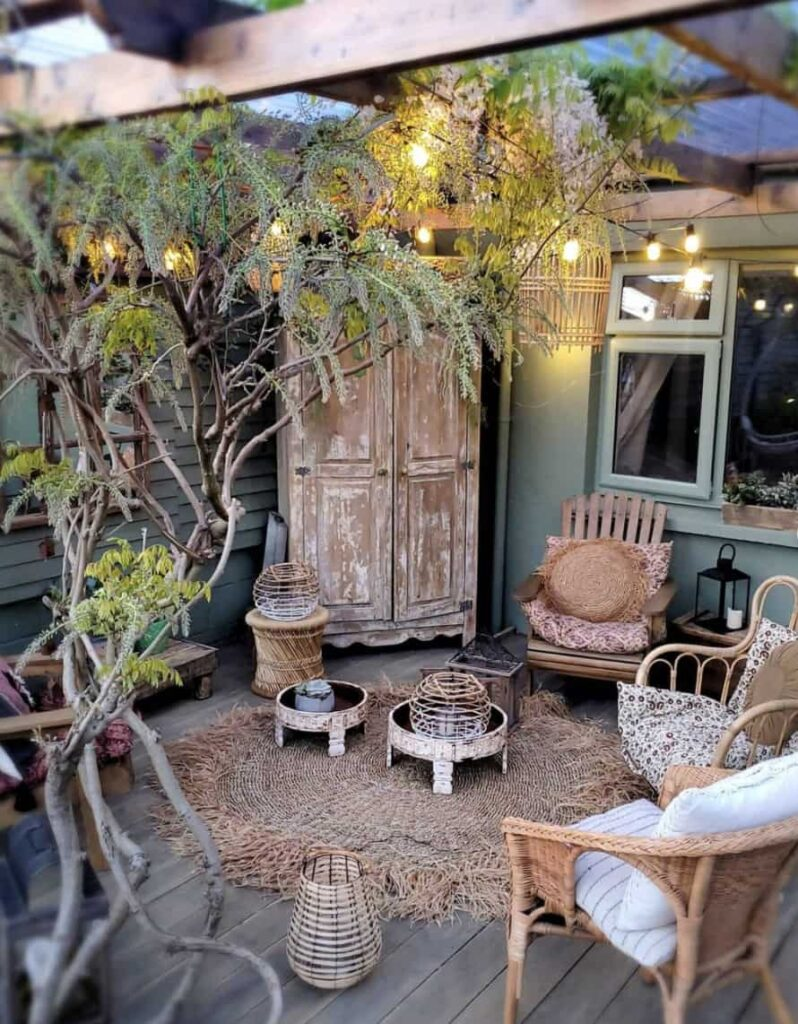 salvaged furniture for small patio