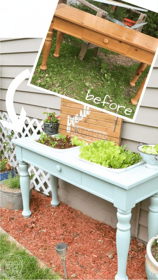 DIY raised garden from a sofa table