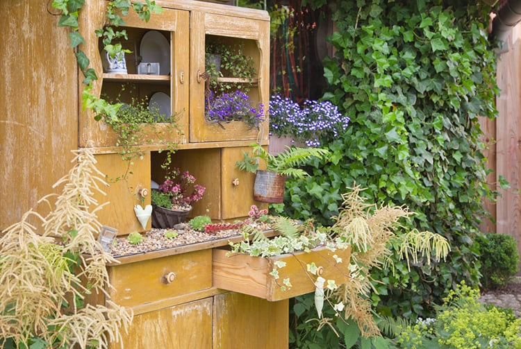build raised bed from old furniture