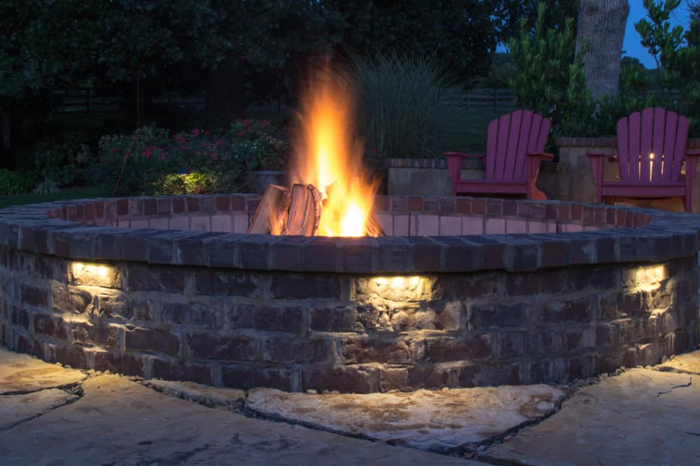 built in fire pit on the patio