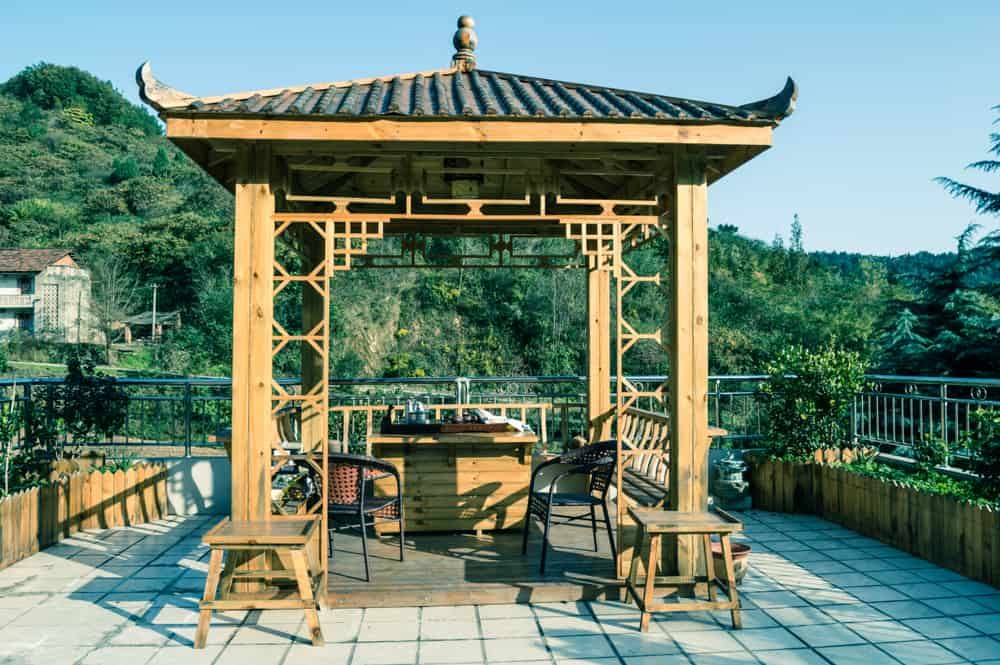 chinese-style wooden gazebo for a tea ceremony