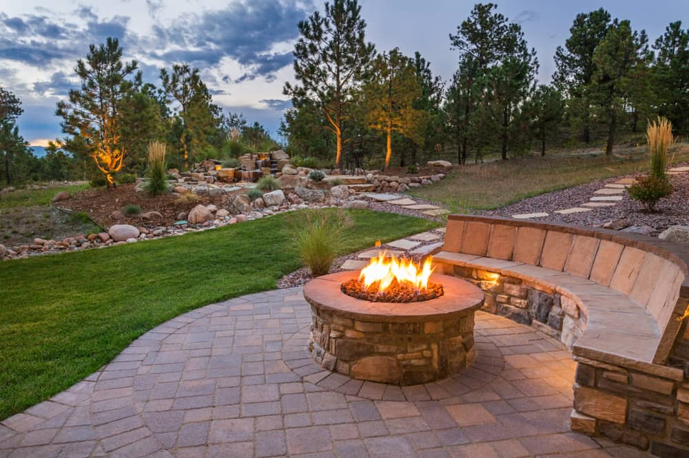 fire pit built in seating