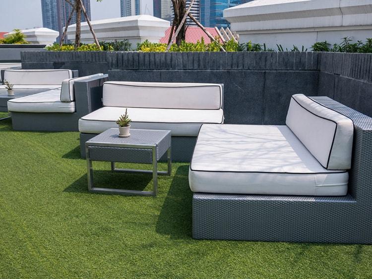 garden furniture on artificial grass