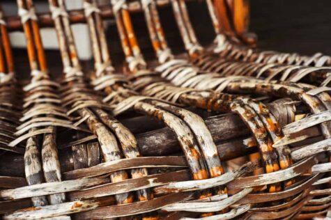 old wicker chair closeup