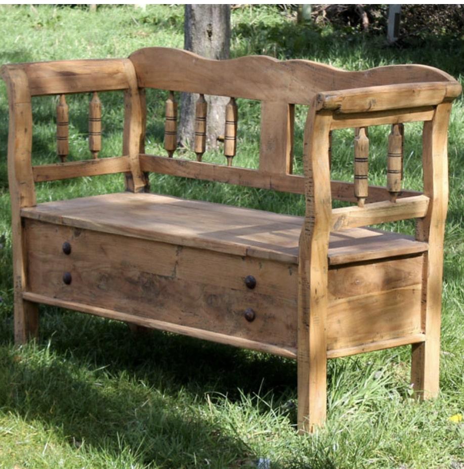 rustic teak garden storage bench