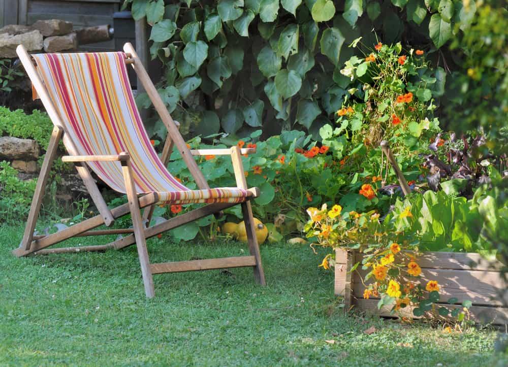 sun lounger in the garden