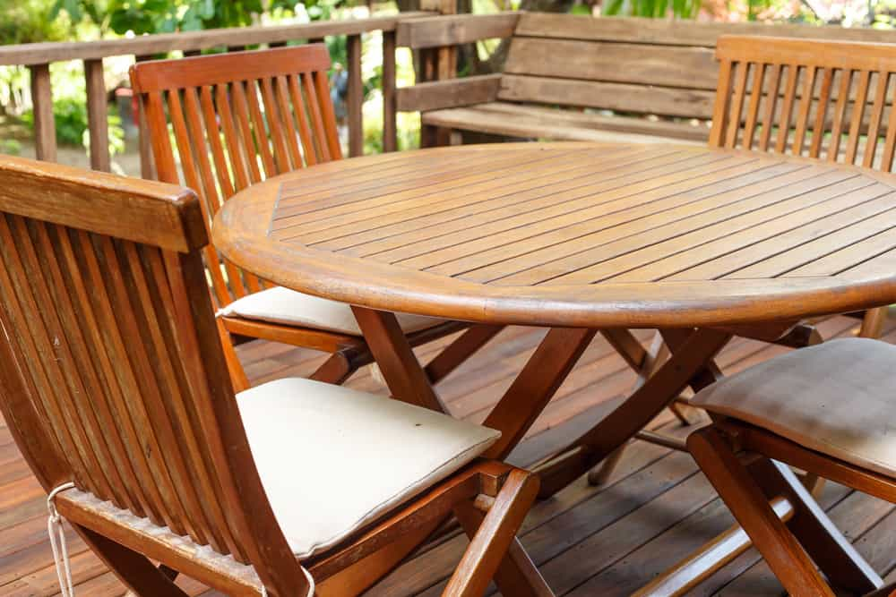 teak wood furniture on the terrace