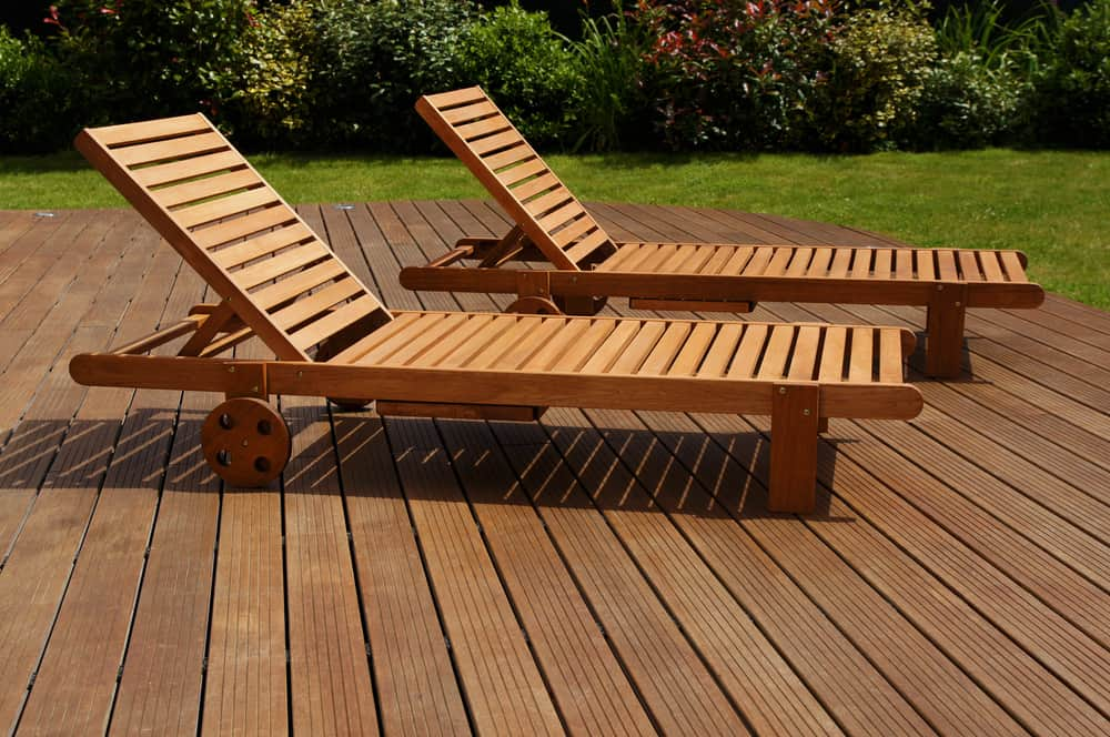 two lounge chairs made from ipe tree