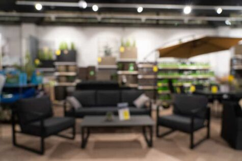 Abstract defocused blurred image of furniture store on sale