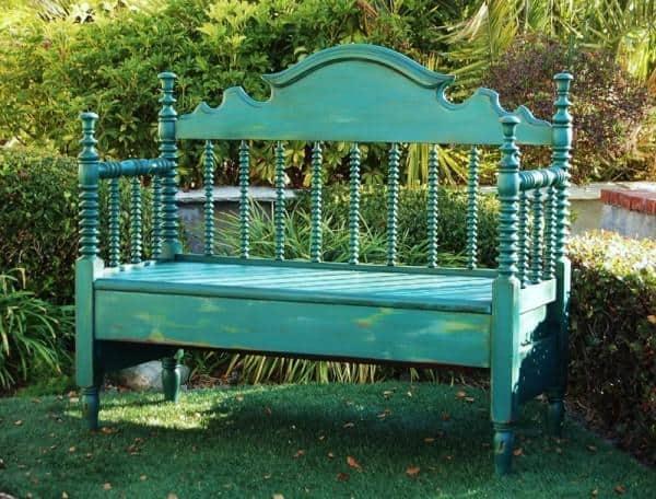 wooden bed frame bench
