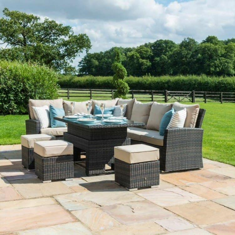 garden furniture set with rising table