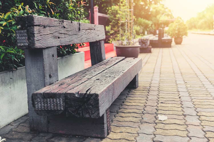 old wood bench from railway sleeper