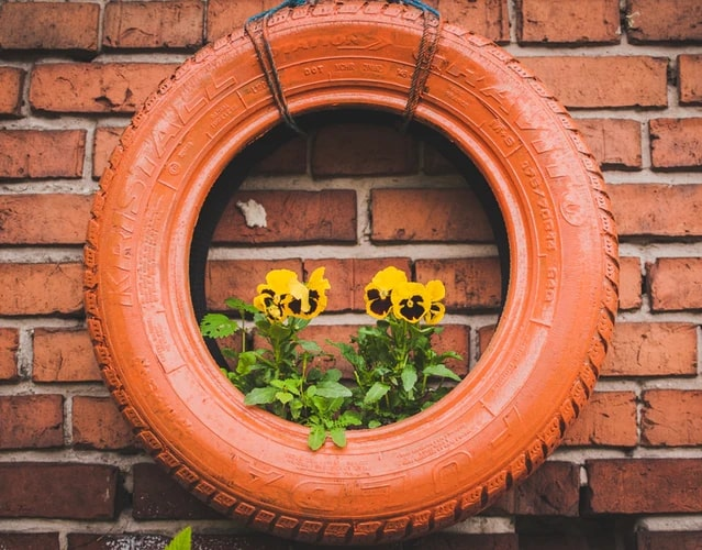 repurposed tyre hanging planter box