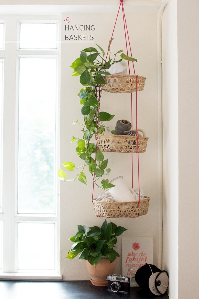 stacked hanging baskets