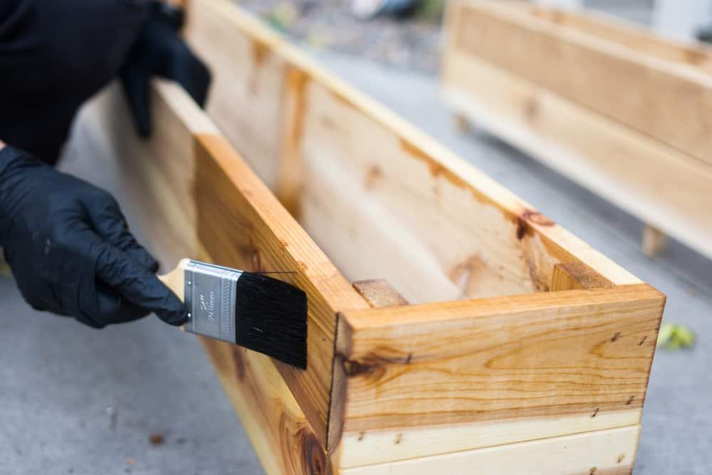 staining cedar planter box