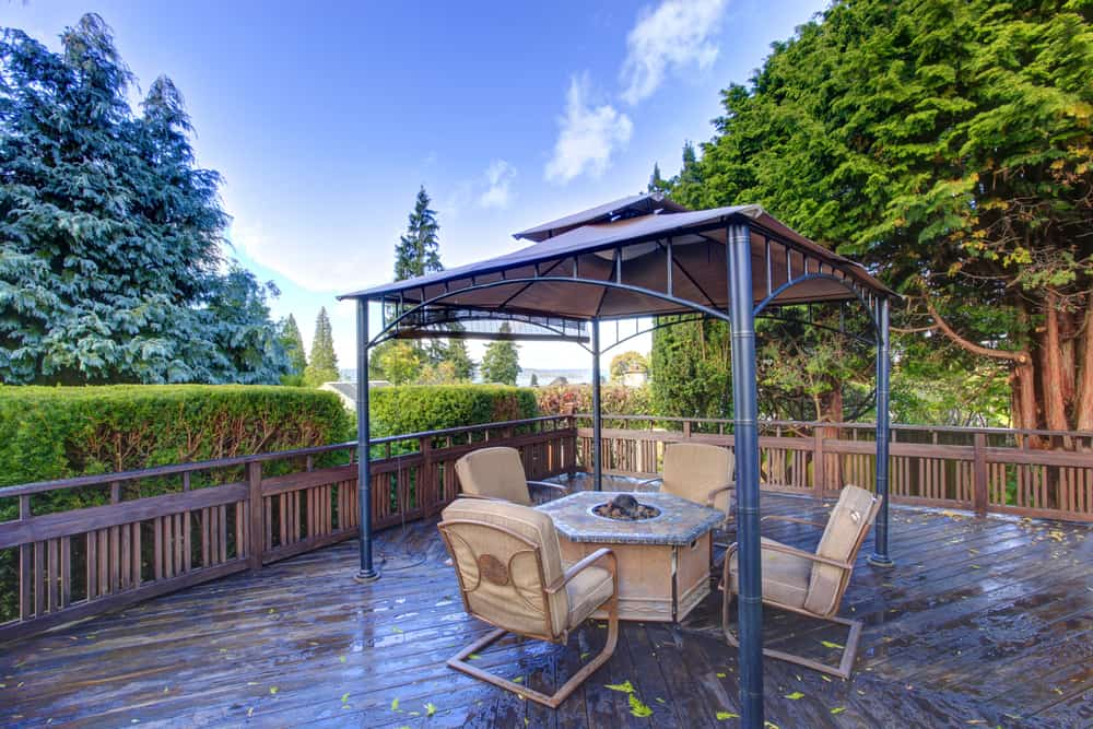 wooden deck with railings and gazebo
