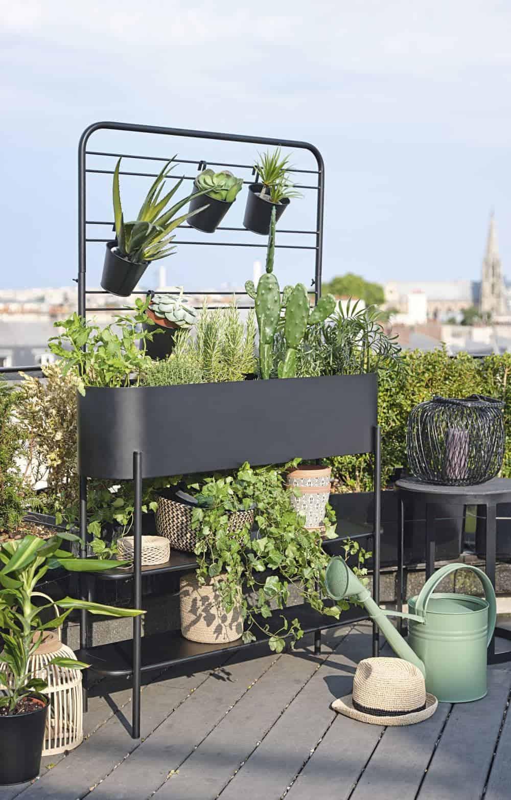 Black metal planter with pots