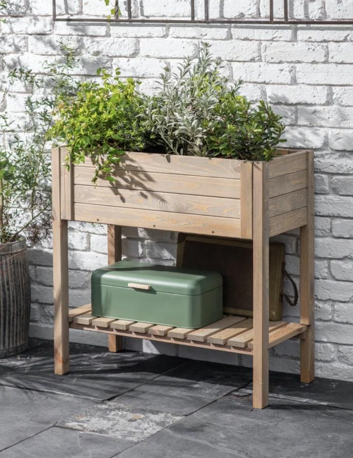 raised wooden planter box