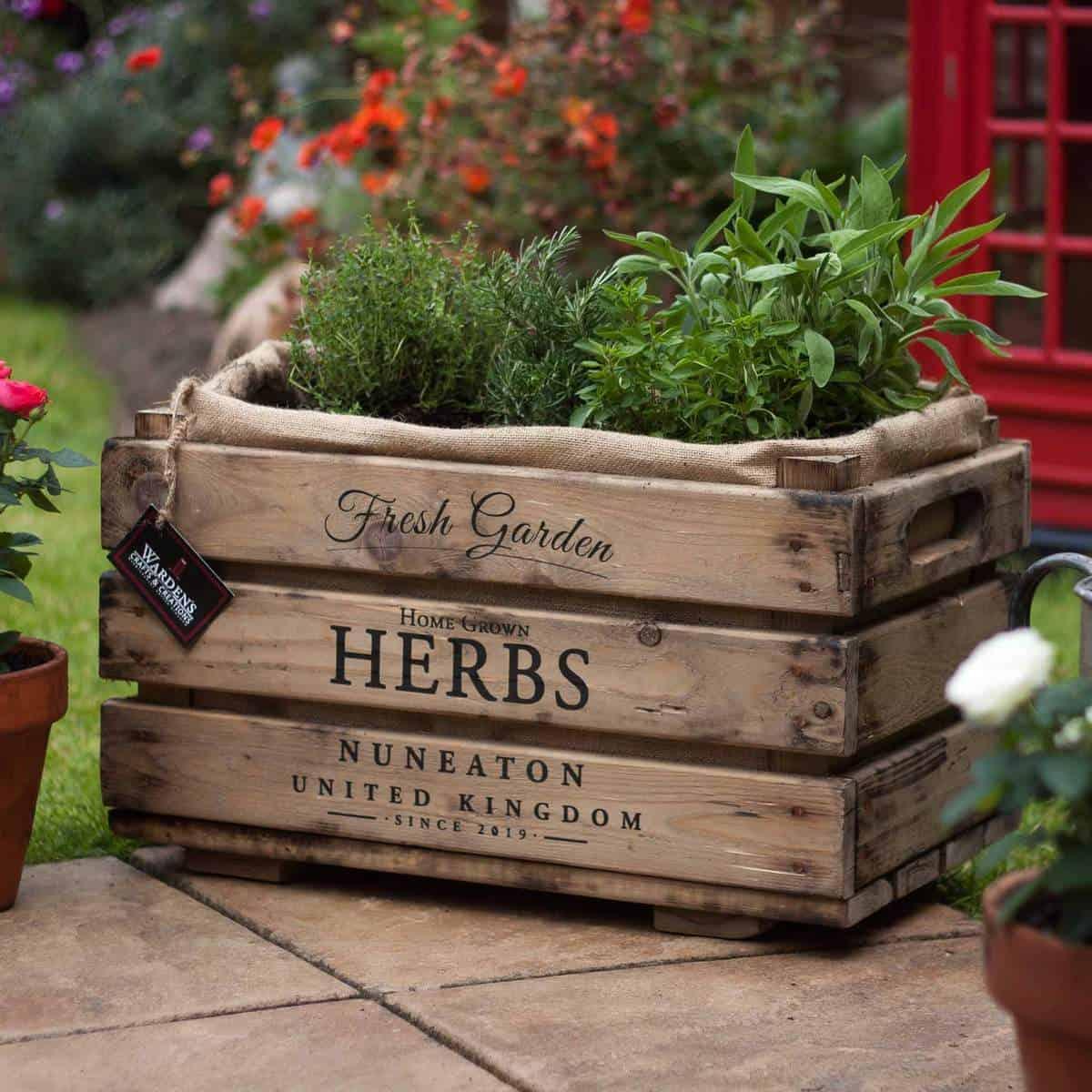 rustic herb planter box
