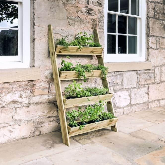 wooden ladder herb planter box
